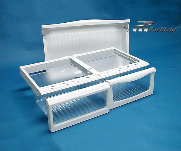 Refrigerator crisper pan, front bezel and frame